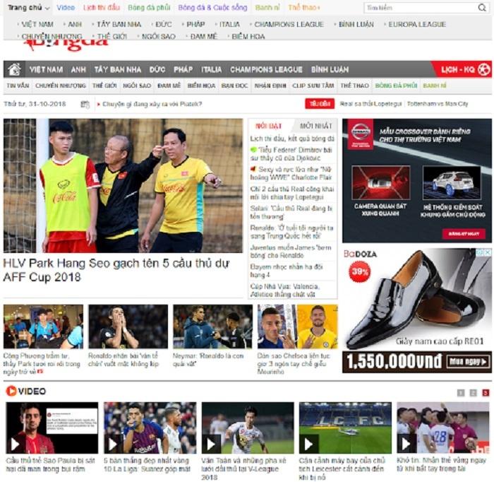 Website Bongdaplus.vn